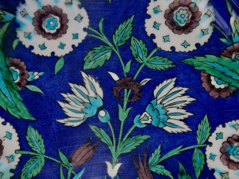 Late 19th Century Théodore Deck, a Fretted Enameled Faience Impressive Iznik Charger For Sale