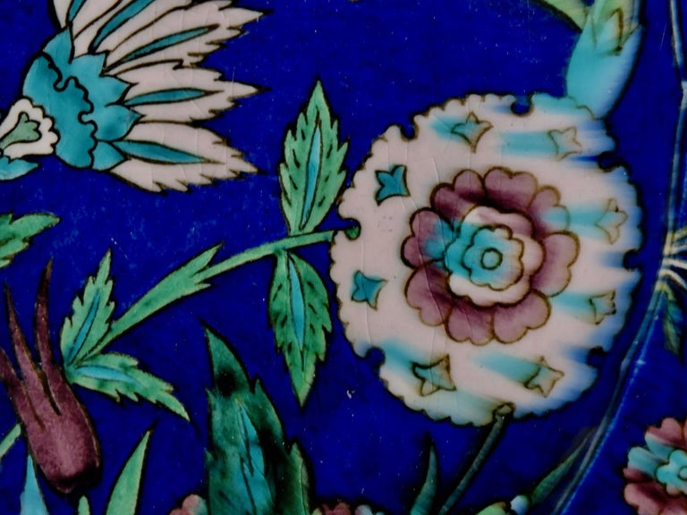 Théodore Deck, a Fretted Enameled Faience Impressive Iznik Charger For Sale 3