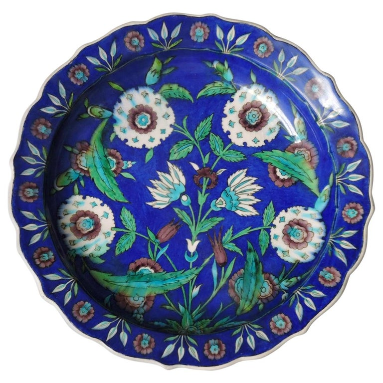 Théodore Deck, a Fretted Enameled Faience Impressive Iznik Charger For Sale