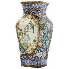 Theodore Deck '1823-1891', a Japonisme Polychromed Faience Quadrangular Vase