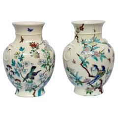 Théodore Deck Japonisme Pair of Faience Vases