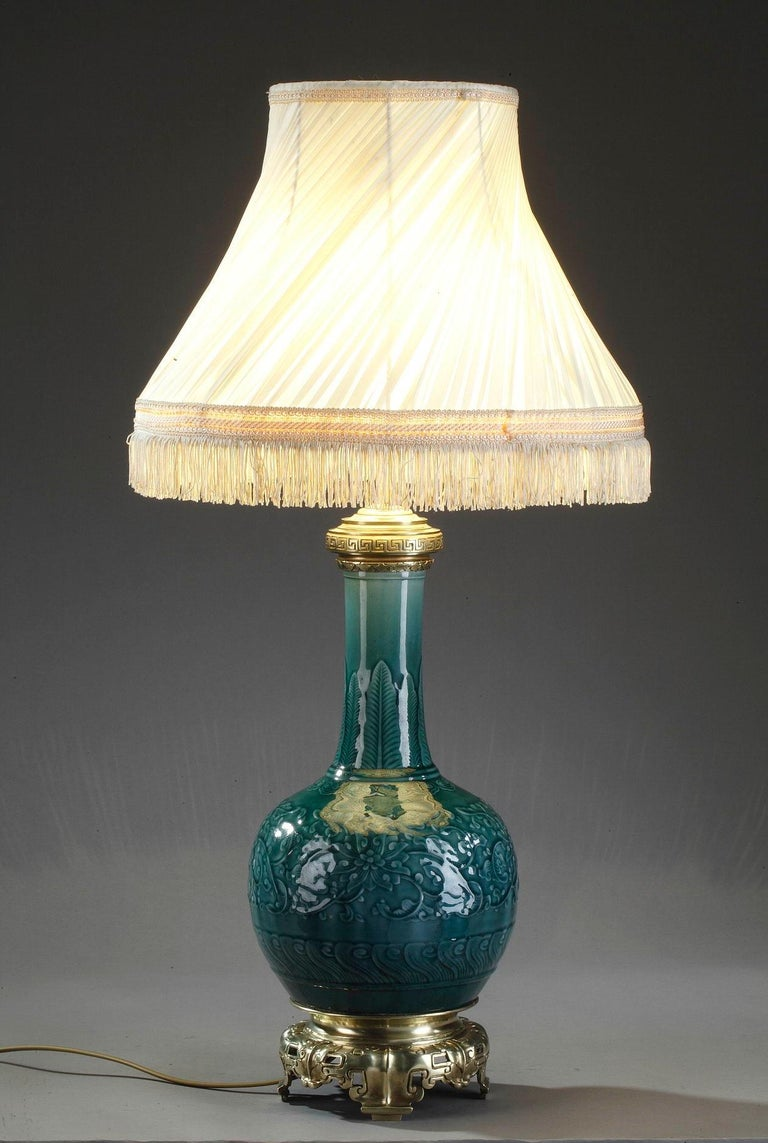 Theodore Deck Porcelain Vase Mounted as Lamp For Sale 6