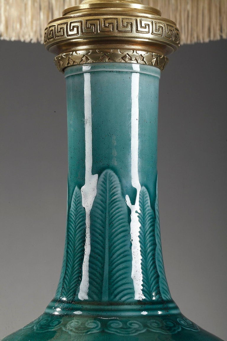 Gilt Theodore Deck Porcelain Vase Mounted as Lamp For Sale