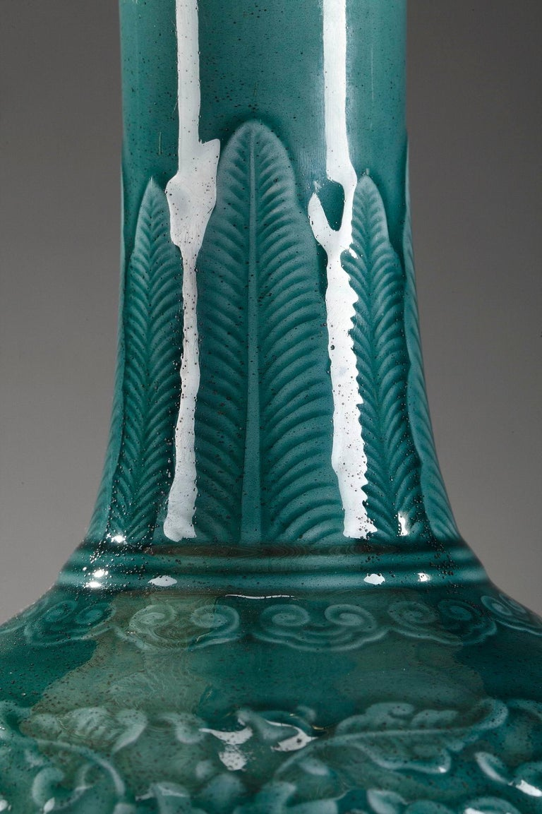 Theodore Deck Porcelain Vase Mounted as Lamp In Good Condition For Sale In Paris, FR