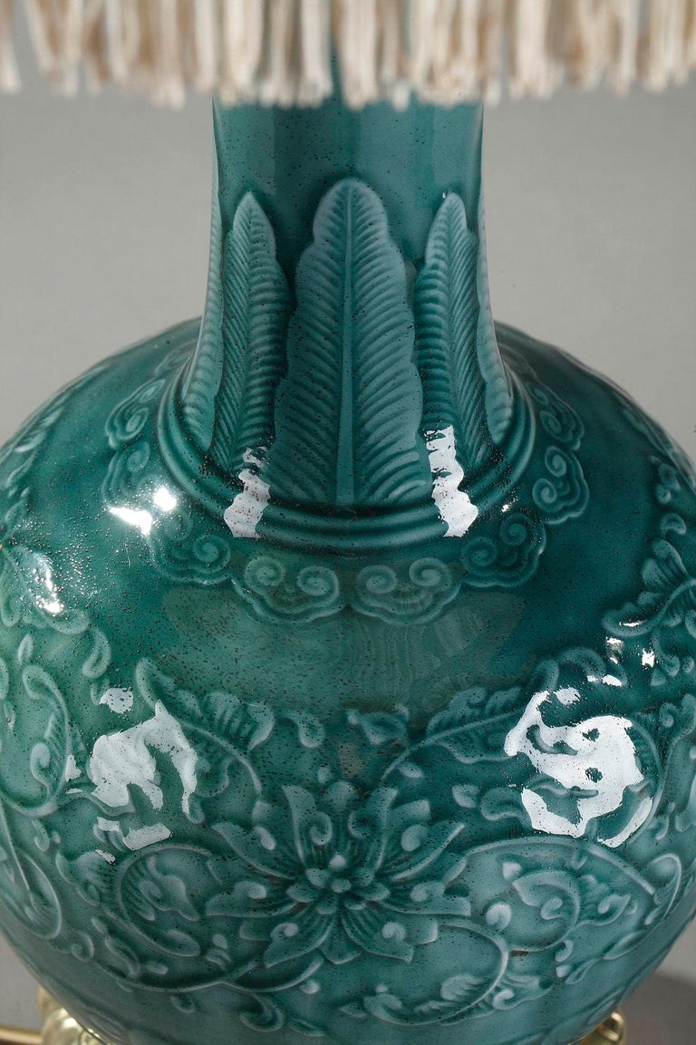 19th Century Theodore Deck Porcelain Vase Mounted as Lamp For Sale