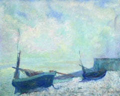 Bateaux a Etretat - 19th Century Oil, Boats on the Coast by Theodore Earl Butler