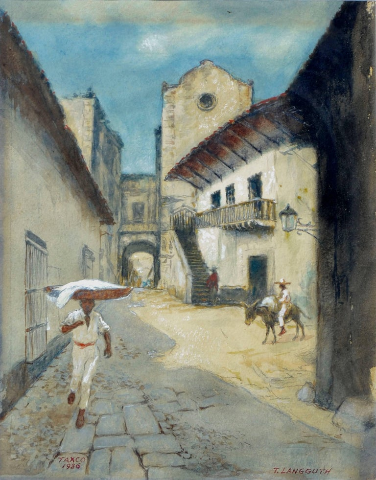 Taxco, Mexico - Figurative Landscape  - Painting by Theodore Ernest Langguth