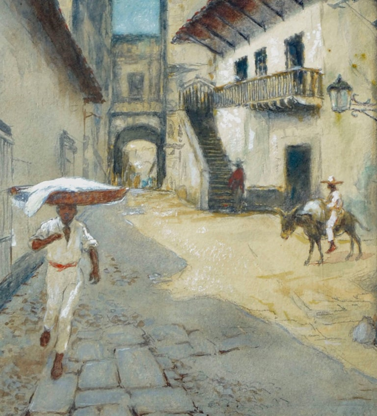 Taxco, Mexico - Figurative Landscape  - American Impressionist Painting by Theodore Ernest Langguth