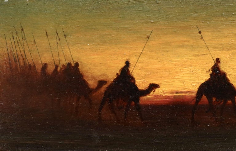 The Caravan - Evening - 19th Century Oil, Figures on Camels in Landscape - Frere For Sale 1