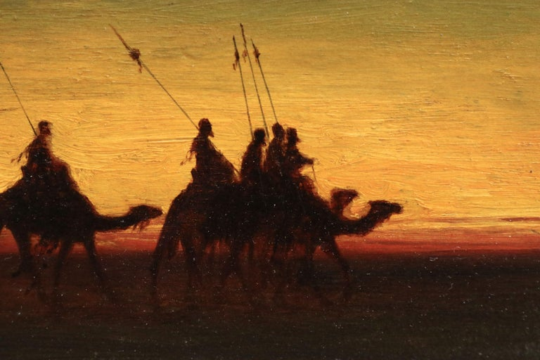 The Caravan - Evening - 19th Century Oil, Figures on Camels in Landscape - Frere For Sale 2