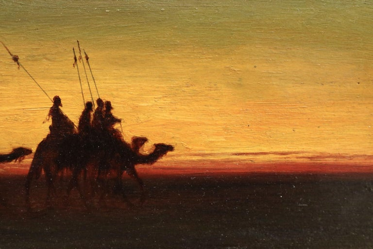 The Caravan - Evening - 19th Century Oil, Figures on Camels in Landscape - Frere For Sale 3
