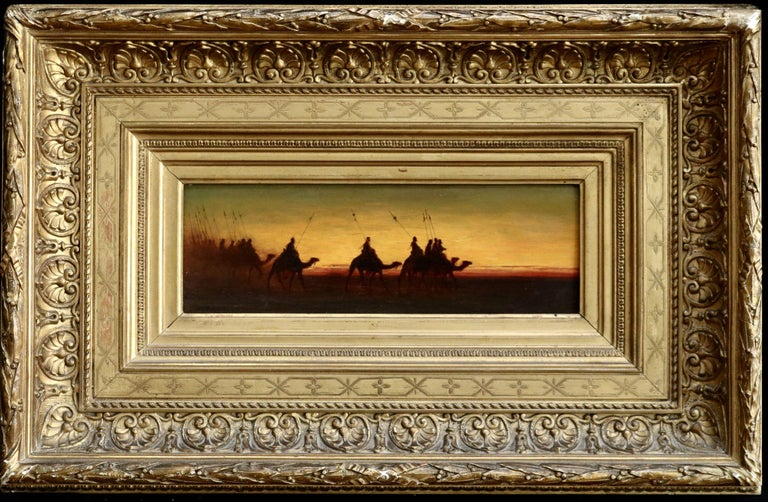 The Caravan - Evening - 19th Century Oil, Figures on Camels in Landscape - Frere For Sale 4