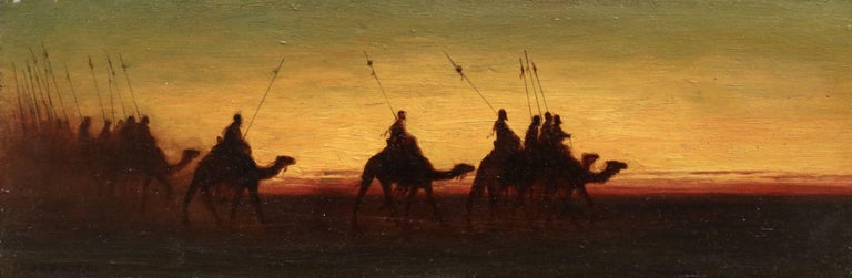 Oil on panel by Theodore Frère depicting figures travelling by camel as the sun sets. Signed lower left. Framed dimensions are 12 inches high by 18 inches wide.   Charles Théodore Frère was a pupil of Camille Roqueplan and Léon Cogniet. He travelled