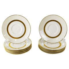 Theodore Haviland Gotham Ceramic Saucers in White and Gold, Set of 10