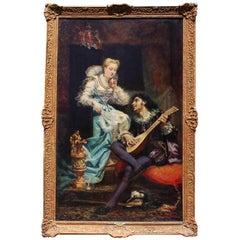 "Théodore Lemonnier Fine and Large Oil on Canvas ""Le Sérénade"""