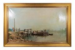 "Theodore Levigne (1848-1912), ""Un dimanche sur la Saône"", Oil on Canvas, 1886"