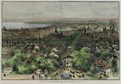 """View of the City of Milwaukee"" Wood Engraving Hand Colored by Theodore R. Davis"