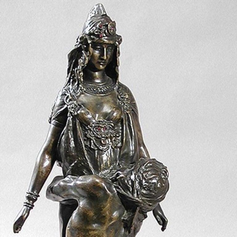 Patinated Théodore Rivière French Art Nouveau Bronze Sculpture For Sale