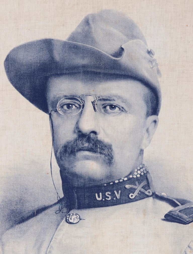 American Theodore Roosevelt Banner with an Exquisite Portrait Image in Rough Rider's Garb For Sale