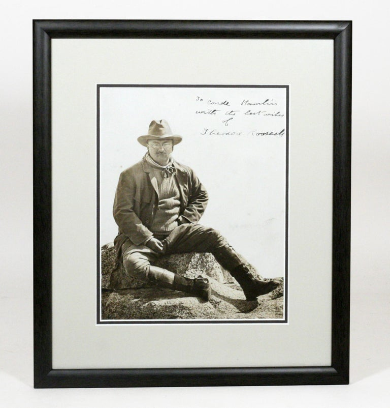 "Theodore Roosevelt In Yosemite - The Birth Of The Conservation Movement. Outstanding Signed Photograph Of Roosevelt As President On Glacier Point, Yosemite; Signed And Inscribed On The Image: ""to Conde Hamlin / With The Best Wishes / Of / Theodore"