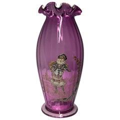 Theodore Rossler Bohemian Amethyst Enameled Glass Vase