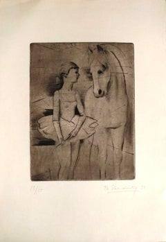 The Horse and the Dancer - Original Etching by Theodore Stravinsky - 1932