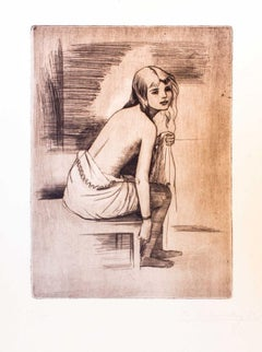 Young Model - Original Etching by Theodore Stravinsky - 1932