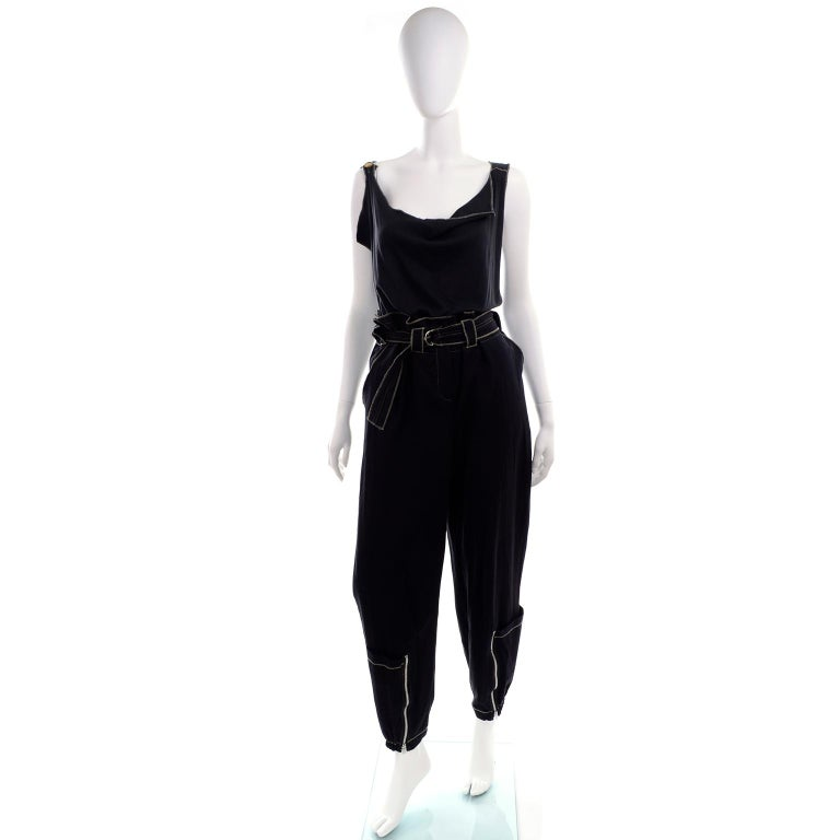 Theodore Vintage Avant Garde 2 pc Black Pants & Tank Top Outfit w topstitching For Sale 7