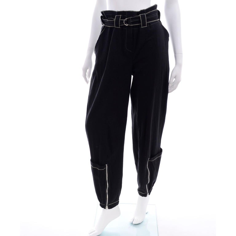 Theodore Vintage Avant Garde 2 pc Black Pants & Tank Top Outfit w topstitching For Sale 9