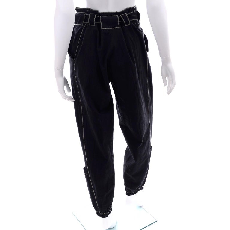 Theodore Vintage Avant Garde 2 pc Black Pants & Tank Top Outfit w topstitching For Sale 12