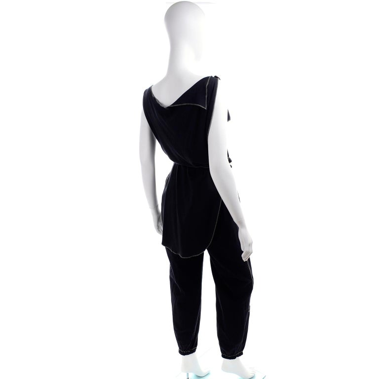 Women's Theodore Vintage Avant Garde 2 pc Black Pants & Tank Top Outfit w topstitching For Sale