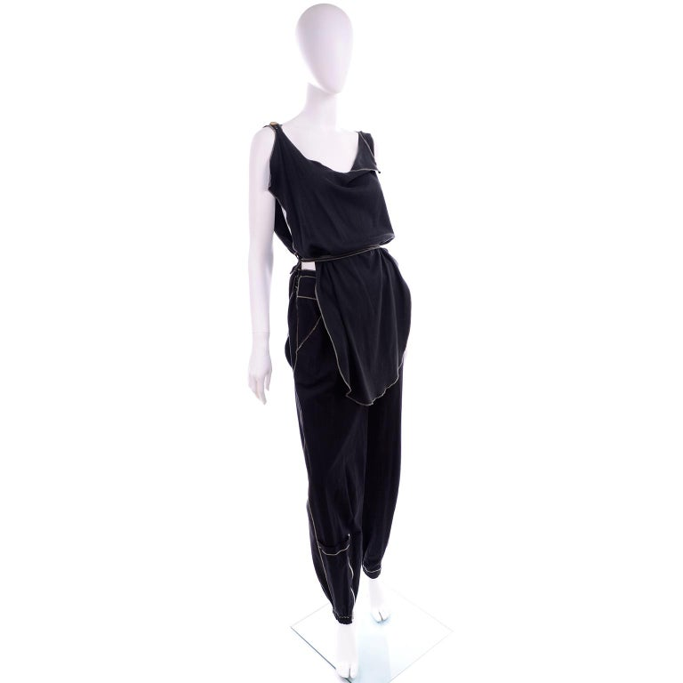 Theodore Vintage Avant Garde 2 pc Black Pants & Tank Top Outfit w topstitching For Sale 1