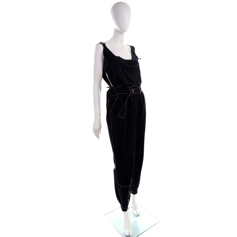 Theodore Vintage Avant Garde 2 pc Black Pants & Tank Top Outfit w topstitching For Sale 2