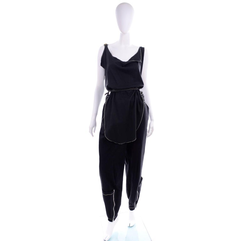 Theodore Vintage Avant Garde 2 pc Black Pants & Tank Top Outfit w topstitching For Sale 3