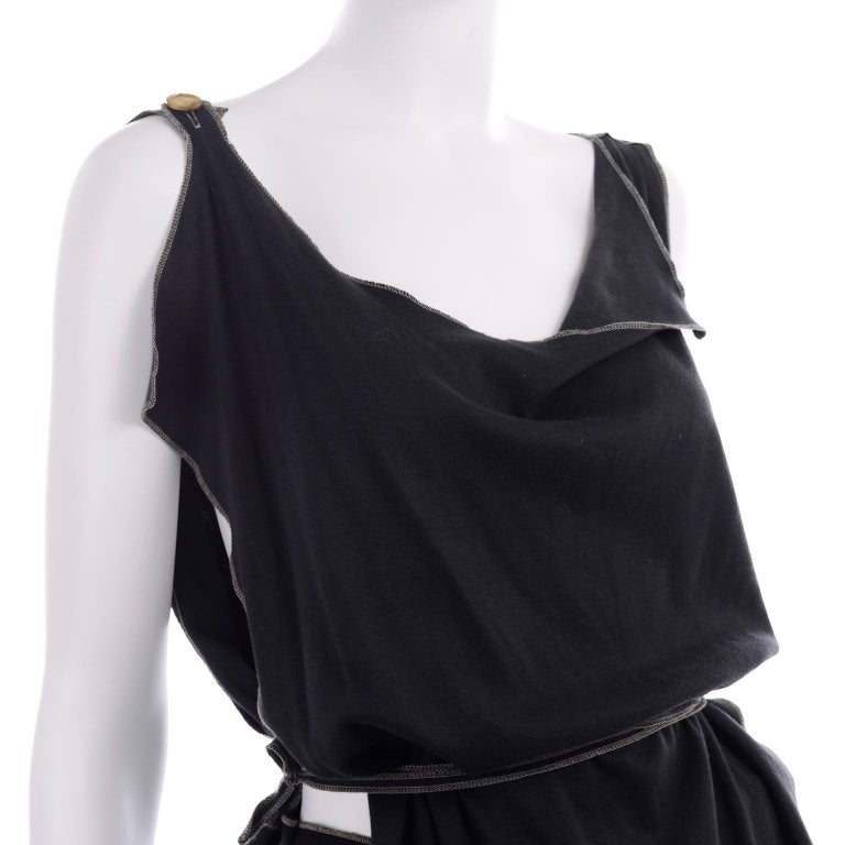 Theodore Vintage Avant Garde 2 pc Black Pants & Tank Top Outfit w topstitching For Sale 4