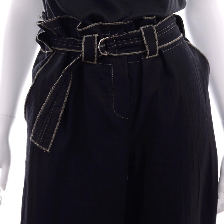 Theodore Vintage Avant Garde 2 pc Black Pants & Tank Top Outfit w topstitching For Sale 5