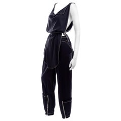 Theodore Vintage Avant Garde 2 pc Black Pants & Tank Top Outfit w topstitching