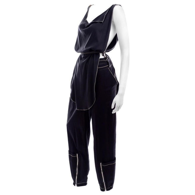 Theodore Vintage Avant Garde 2 pc Black Pants & Tank Top Outfit w topstitching For Sale