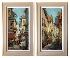 Oil Paintings, Pair of Dutch Street Scenes circa 1950 (signed)