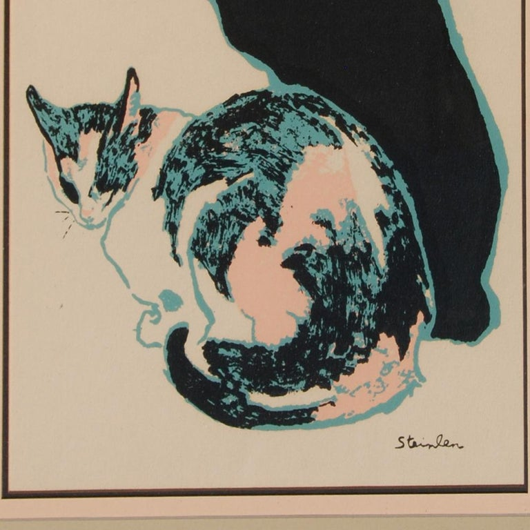Expressionist Theophile Alexandre Steinlen Cats Seriagraph For Sale