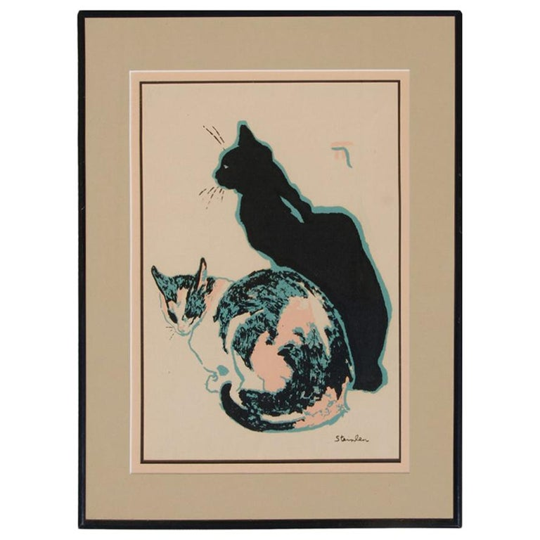 Theophile Alexandre Steinlen Cats Seriagraph For Sale