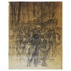 Théophile Alexandre Steinlen Original Charcoal Drawing Serb Refugees, 1915