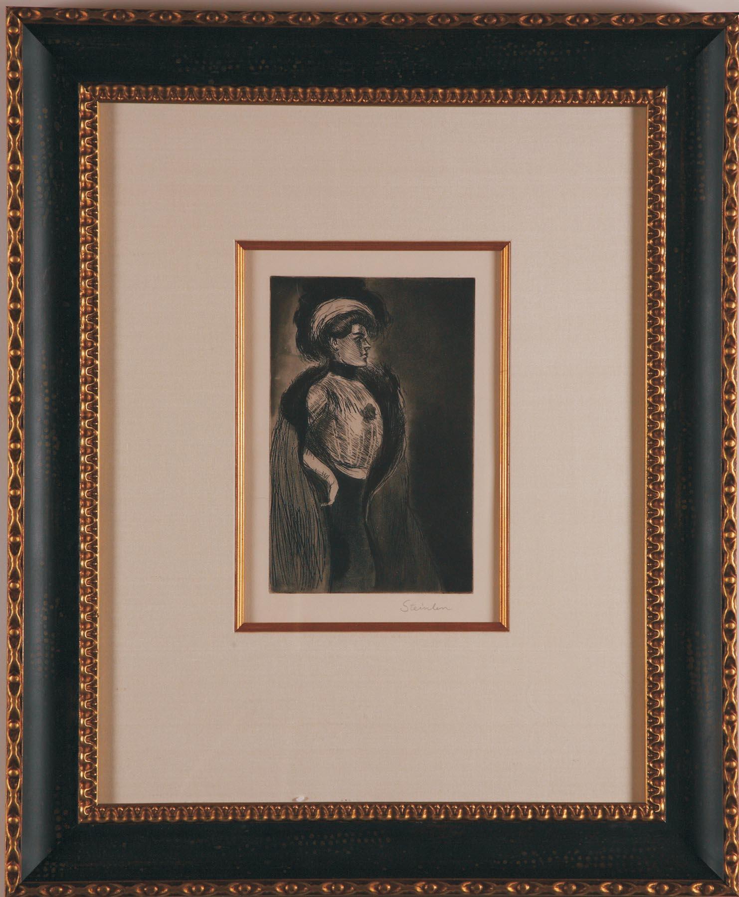 """""""Femme au Boa"""" etching by Steinlen"""