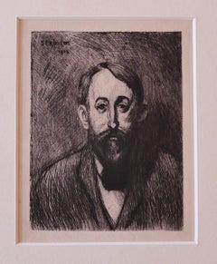 Portrait - Original Etching by Théophile Alexandre Steinlen - 1914