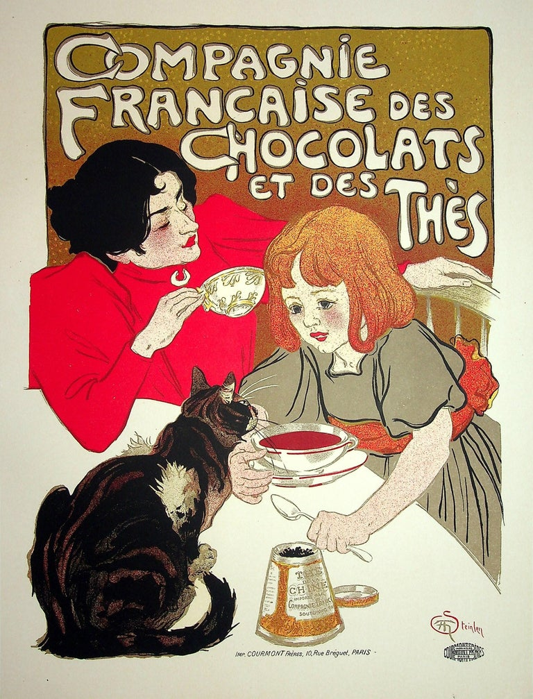 The Little Girl and her Cat - Lithograph (Les Maîtres de l'Affiche), 1899 - Print by Théophile Alexandre Steinlen