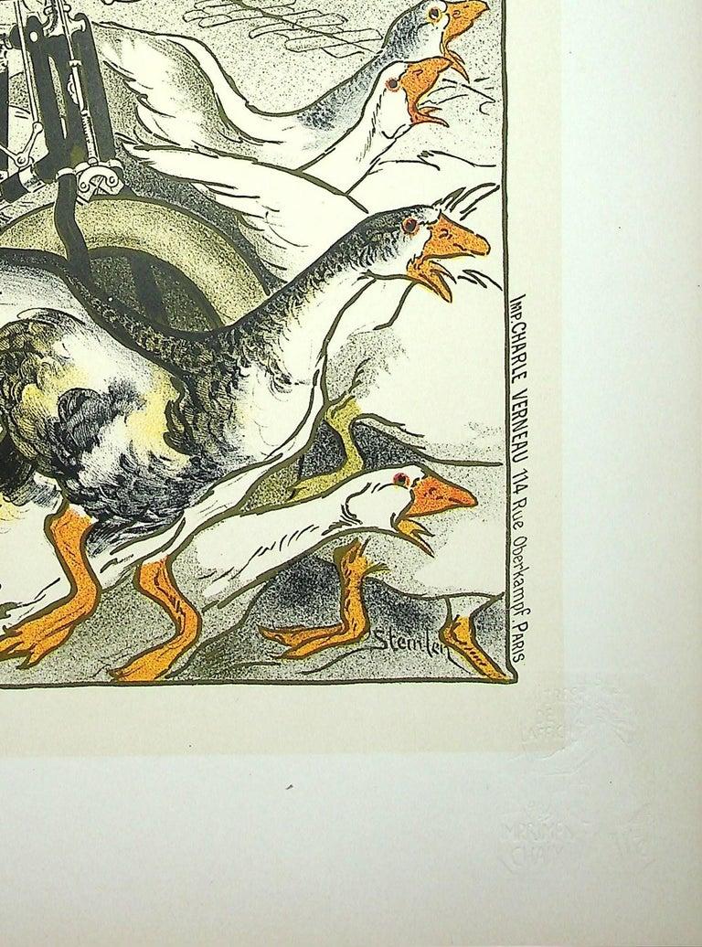 The Pretty Parisian and the Geese - Lithograph (Les Maîtres de l'Affiche), 1899 - Beige Figurative Print by Théophile Alexandre Steinlen