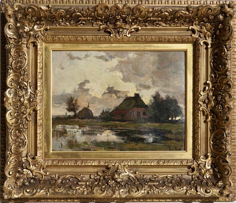 Theophile de Bock farm house landscape oil painting.  Sight: 12