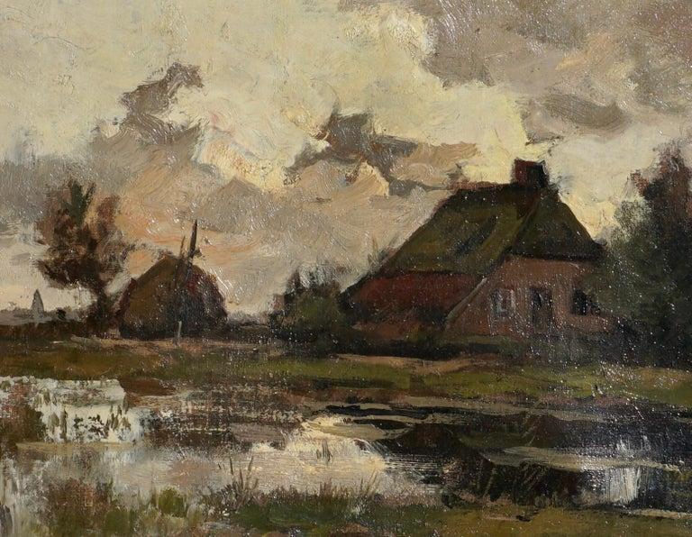 Barbizon School Theophile de Bock Farm House Landscape Oil Painting For Sale
