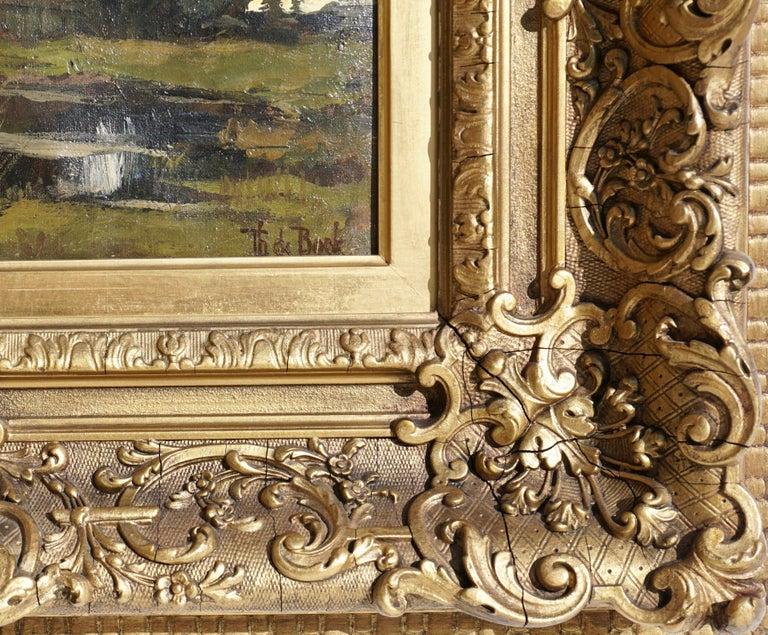 Dutch Theophile de Bock Farm House Landscape Oil Painting For Sale