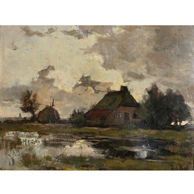 Theophile de Bock Farm House Landscape Oil Painting For Sale